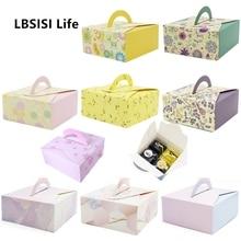 LBSISI Life 10 шт. бумажная коробка для печенья для яиц с ручкой шоколадный торт вечерние коробки для конфет DIY Свадебная подарочная коробка