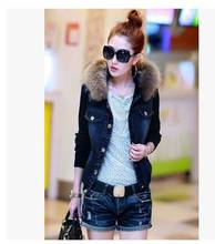 New arrival slim rabbit fur shor section stitching winter jacket women roupas femininas denim coat jeans outwear for lady S658
