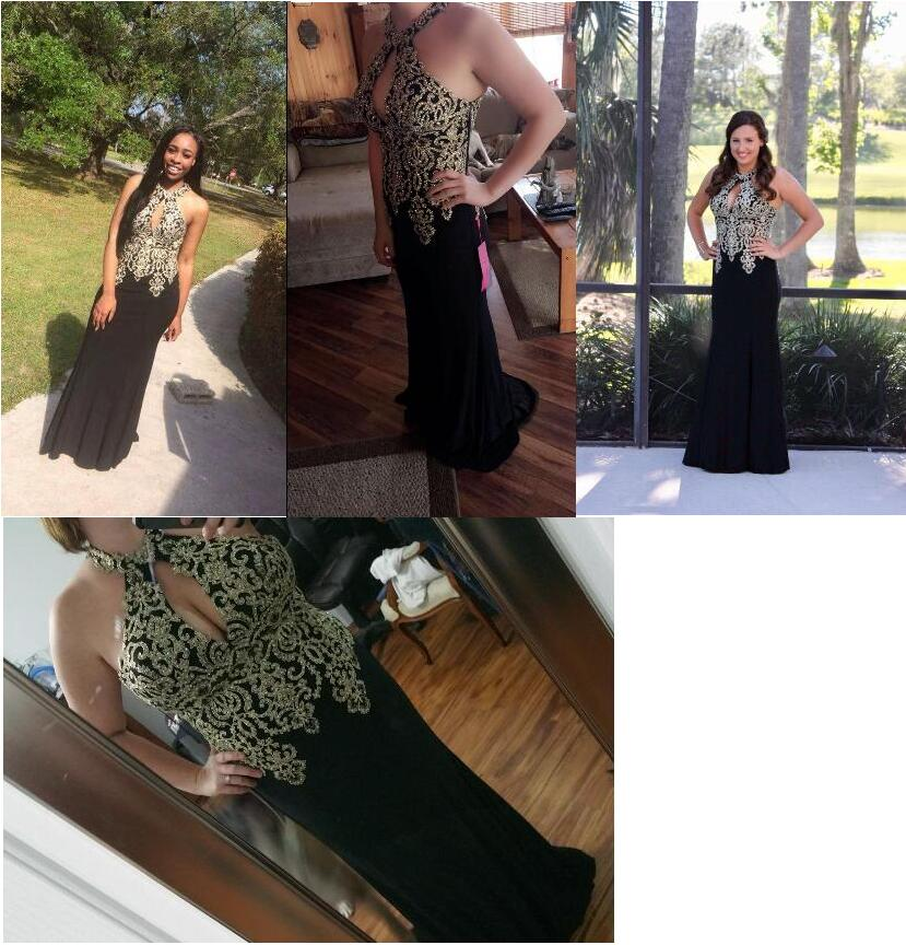 Image 5 - 2019 Black Mermaid Evening Dress Plus Size Erosebridal Gold Appliques Bodice Formal Women Party Gowns Halter Dresses ZDH04-in Evening Dresses from Weddings & Events