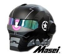 MASEI 610 ATOMIC MAN Action Man MOTORCYCLE BIKE HELMET MATT WHITEGRAY S M L XL XXL
