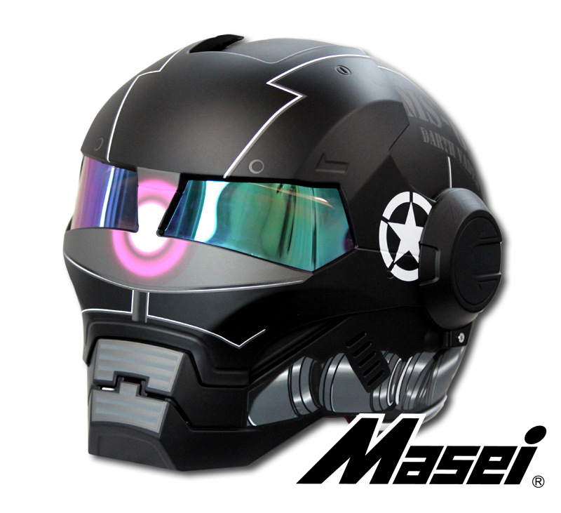 MASEI 610 ATOMIC MAN Action Man MOTORCYCLE BIKE HELMET MATT WHITEGRAY S M L XL XXL