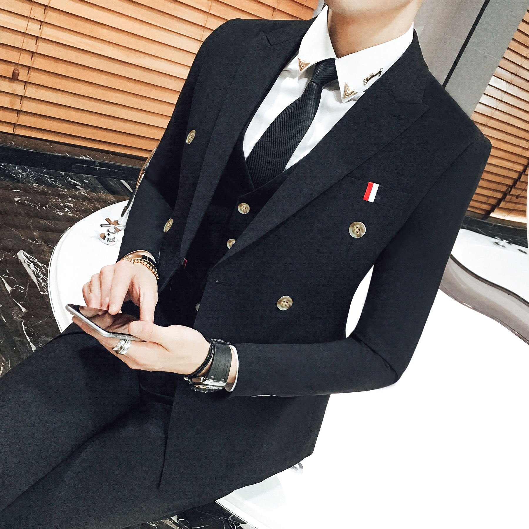 2019 Explosion Three-piece Double-breasted Suit Korean Version Slim Dress Costumes Hommes