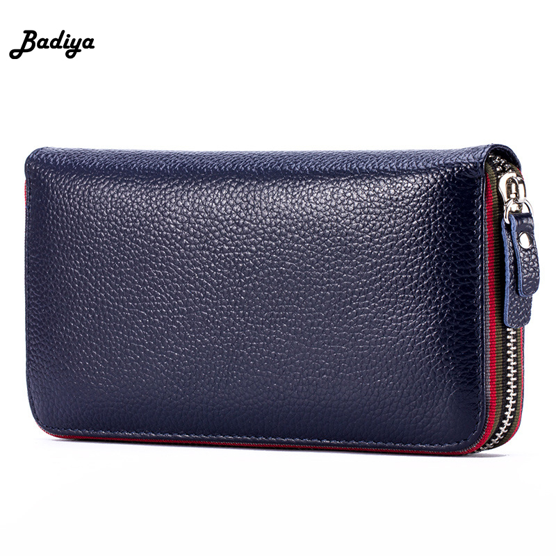 New Ladies Long Genuine Leather Wallet Large Capacity Women Purse Card Zipper Multifunction Purse Phone Bag Money Bag For Female