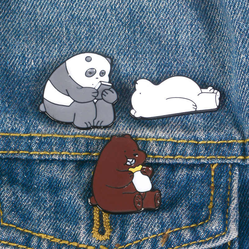 Logam Indah Panda Beruang Kutub Coklat Bear Hewan Logam Enamel Bros Pin Lencana Perhiasan untuk Wanita Hadiah Ulang Tahun Gratis Pengiriman