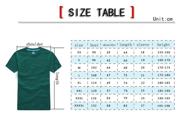 tshirt size table