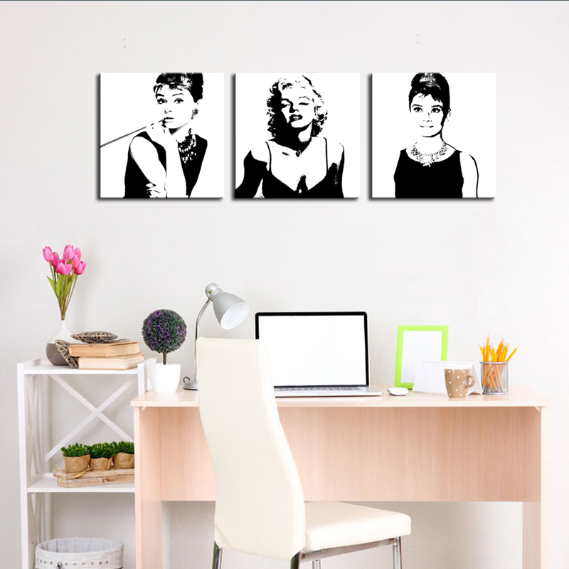 3 Pieces Marilyn Monroe and Audrey Hepburn Painting Picture Print on Canvas with Wooden Framed for Modern Home Wall Decoration