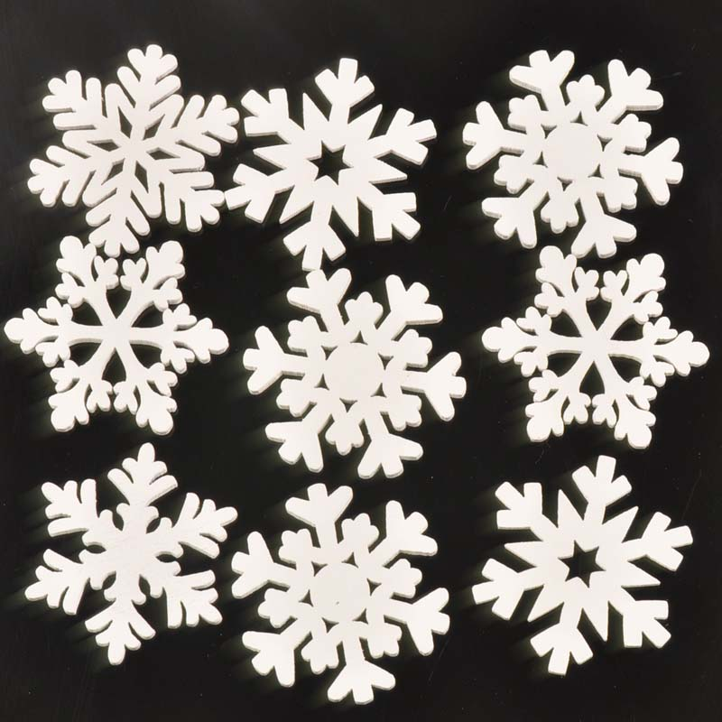 30pcs Mix Christmas Snowflake Pattern White Wooden Scrapbooking Carft For Home Decoration Diy Handmade 35mm MT1782