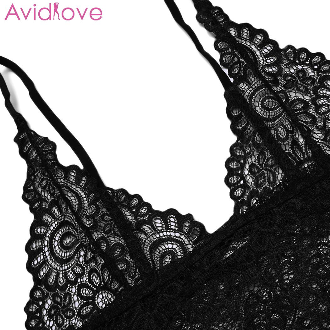 Avidlove Women Sexy Hollow Lace Floral Lingerie Sets Erotic Nightwear Nighty Costumes Hot Clothes Set Bra with G String 5
