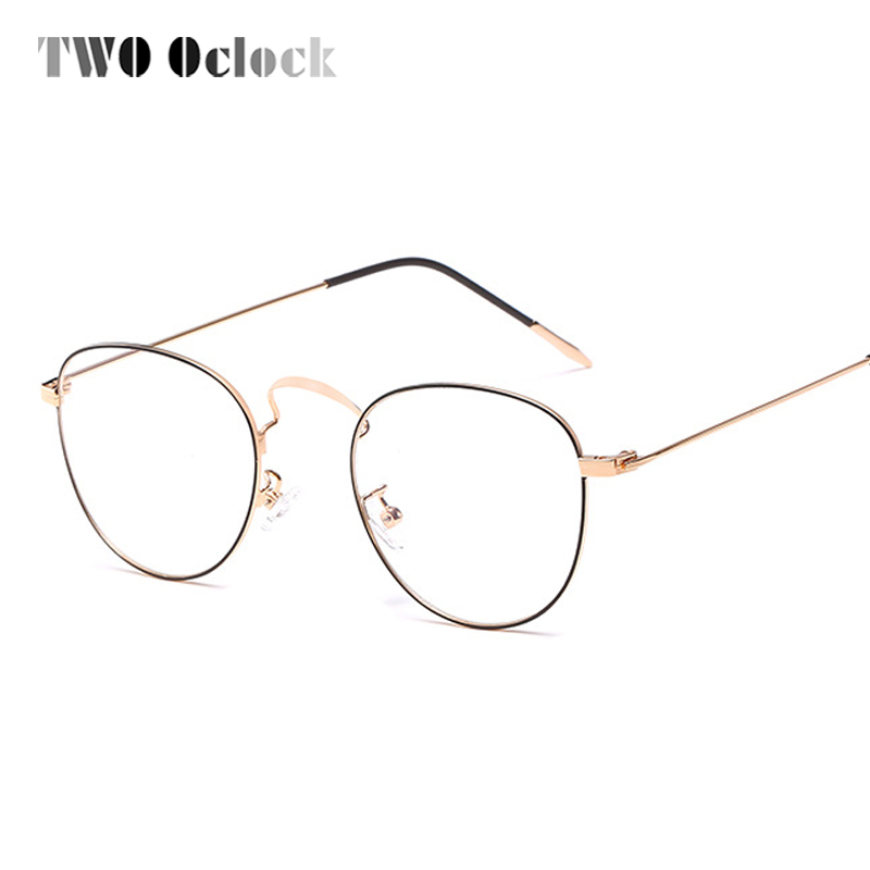TWO Oclock Korean Women Round Glasses Clear Spectacle Frames Transparent Glasses Frame Gold Metal Prescription Eyewear X9002