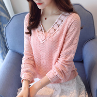 Hollow Out Lace Blouse Women Fashion High Quality V Neck Long Sleeve Elastic Waist Pink White