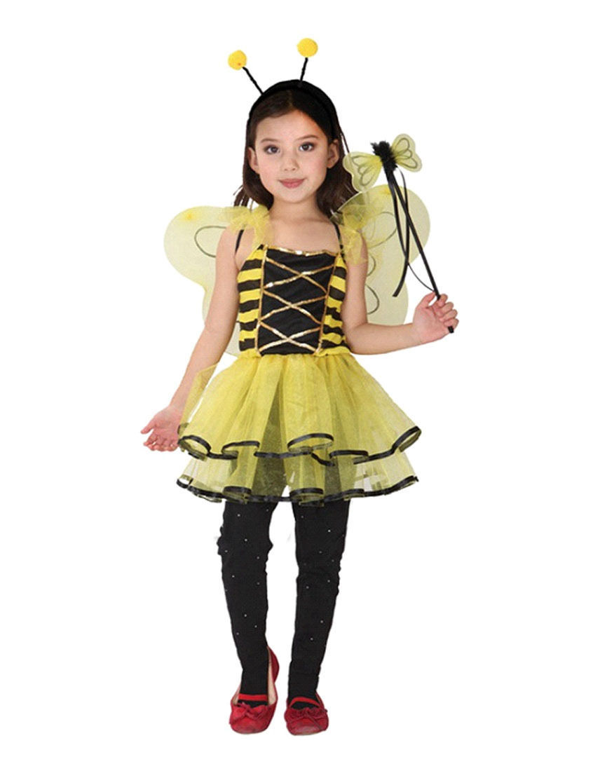 Dress up chinese - 2017 New Child Girls Yellow Bee Fancy Dress Up Costume Party Halloween Ladybird Bee Cospaly New
