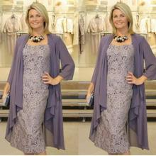 Two Pieces Chiffon Jackets Sheath Mothers For Weddings vestido novia Prom Evening gown short Lace Mother