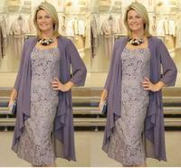 Two Pieces Chiffon Jackets Sheath Mothers For Weddings vestido novia Prom Evening gown short Lace Mother of The Bride Dresses