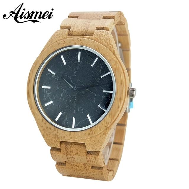1188fca9d03 Presente de luxo Natureza Bambu Cheio De Madeira Relógios Homem Esporte  Criativo Pulseira Analógico Quartz relógio
