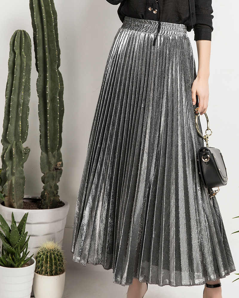 06d72913c00e9c ... Women Metallic Ankle-Length Maxi Skirt Pleated A-Line High Waist Autumn  Winter Hot ...