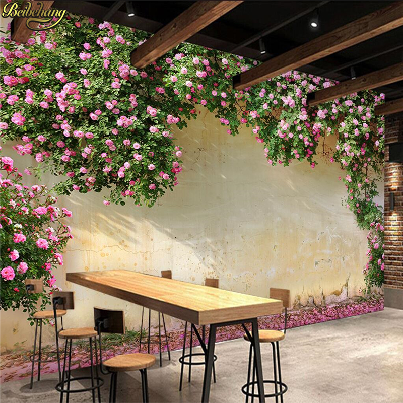 beibehang Custom 3d Wallpaper Large Mural 3d Rose Rose Cafe Restaurant Theme Hotel Background Mural papel de parede Wall paper large photo wallpaper bridge over sea blue sky 3d room modern wall paper for walls 3d livingroom mural rolls papel de parede