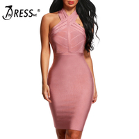 INDRESSME 2019 New Women Bandage Dress Runway Party Dresses Blue Red White Halter Mesh Sexy Lady Celebrity Backless Dress Lady