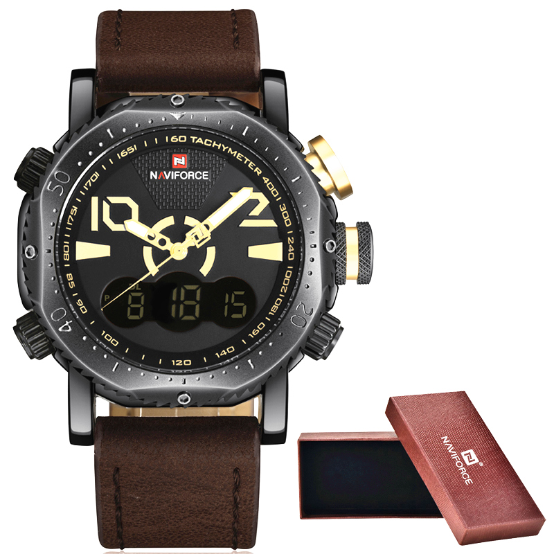 NaviForce Watches Men Luxury Brand Fashion Casual Watch Quartz Clock Men Sport Watches Men's Leather Military Wrist Watch+box splendid brand new boys girls students time clock electronic digital lcd wrist sport watch