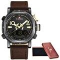 Naviforce relojes hombres lujo de la marca de moda casual reloj de cuarzo reloj de los hombres del deporte relojes de los hombres militar reloj de pulsera de cuero + caja