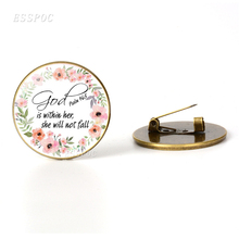 Bible Verse Brooch Glass Cabochon Inspirational Quote Badge Women Vintage Bronze Brooches Pins Jewelry Christn Gifts god is my refuge and strength a very present help in trouble key chain glass cabochon god jewelry bible verse key rings
