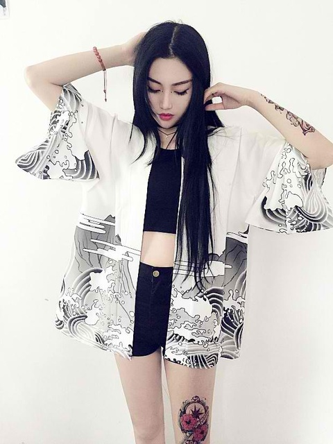 Rồng Sóng Kimono Cardigan phụ nữ mới Rãnh Harajuku phong cách mùa hè áo