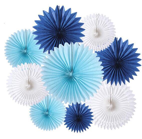 9 pcs Mixed Sizes 8 12 16 Royal Blue Baby Blue White Paper Fan