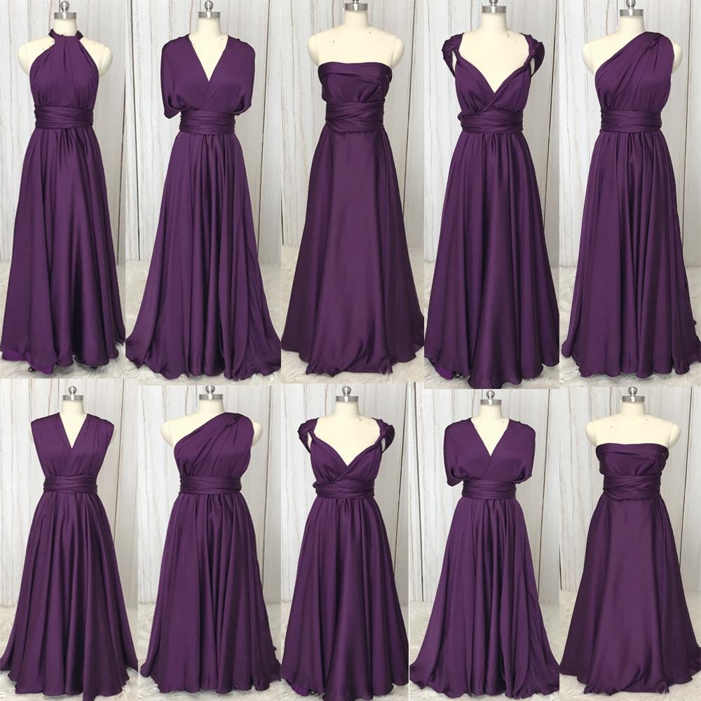 SuperKimJo Brautjungfernkleid violet robes de demoiselle d'honneur longue 2019 Convertible Satin pas cher robes de mariée