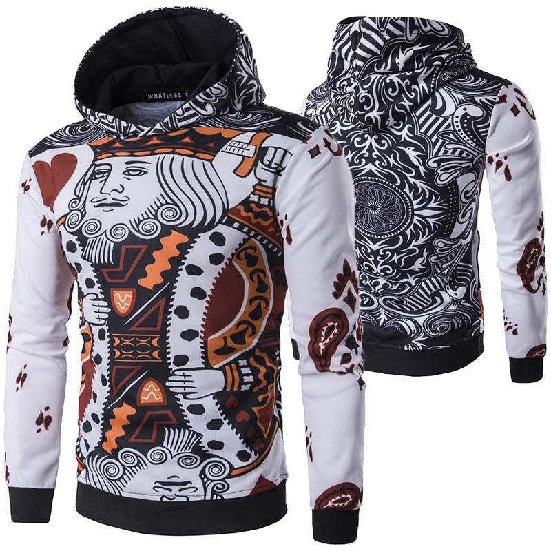Mens 3D Playing Cards Print Hoodie Coat Poker King Floral Sweatshirts Fashion Hip Hop Slim Pullover Male Funny Tops Spring 2019
