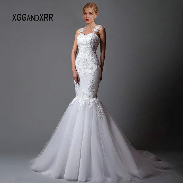 Sexy Lace Mermaid Wedding Dress 2019 Lace Bride Dress Sweetheart Illusion Back Applique Boho vestido de noiva White gelinlik