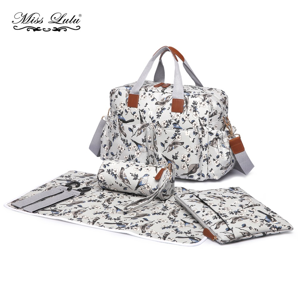Miss Lulu 3 Piece Baby Nappy Diaper Changing Bag Set Large Shoulder Handbag PU