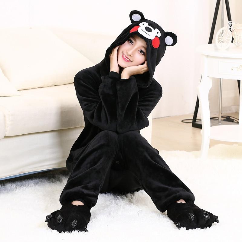 Cute Kumamon Kigurumi Onesie Animal Adult Men Women Black Pajamas For Halloween Party Jumpsuit Soft Flannel Cosplay Costume (7)
