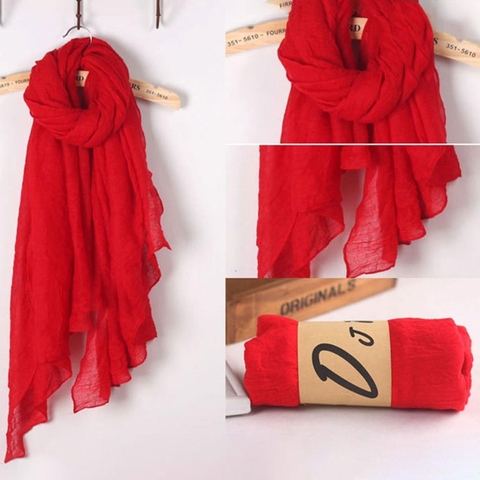2018 Fashion New 16 Colors Women Long Scarf Wrap Scarves Vintage Cotton Linen Large Shawl Hijab Elegant Solid Black Red Whi Islamabad