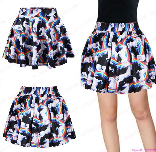 d0aef5fa9a Sexy Rainbow unicornio mini Faldas mujeres elegancia alta cintura plisada  Faldas minifalda verano gimnasio fitness mini