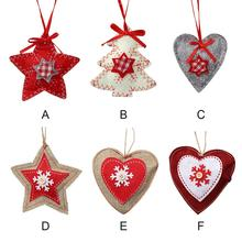 non woven linen christmas tree decoration five pointed star love christmas tree woodiness pendant - Woodies Christmas Decorations