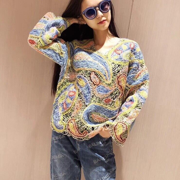 Женские свитеры 2018 взлетно посадочной полосы Элитный бренд Европейский Дизайн вечерние Стиль О образным вырезом Женская Костюмы K6293