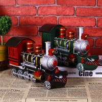 High Simulation Handmade Steam Locomotive Train Model Creative Vintage Resin Craft Birthday Gift Toy Home Decor