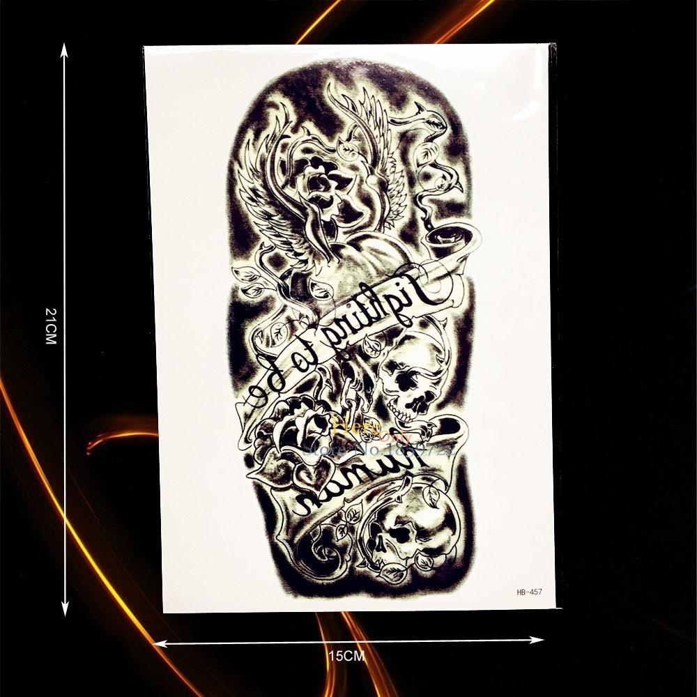 ᗑ】1 unid gran estilo de rock cráneo rosas flor brazo manga tatuaje ...