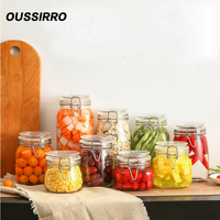1pcs 500 750 1000 1500 Glass Storage Bottles Jars With Lid Large Capacity Honey Candy Jar