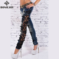 Women Jeans With Lace 2016 Pencil Leggings Autumn Patchwork Jeans Denim Pants Girls Sexy Casual Skinny Jeans Autumn