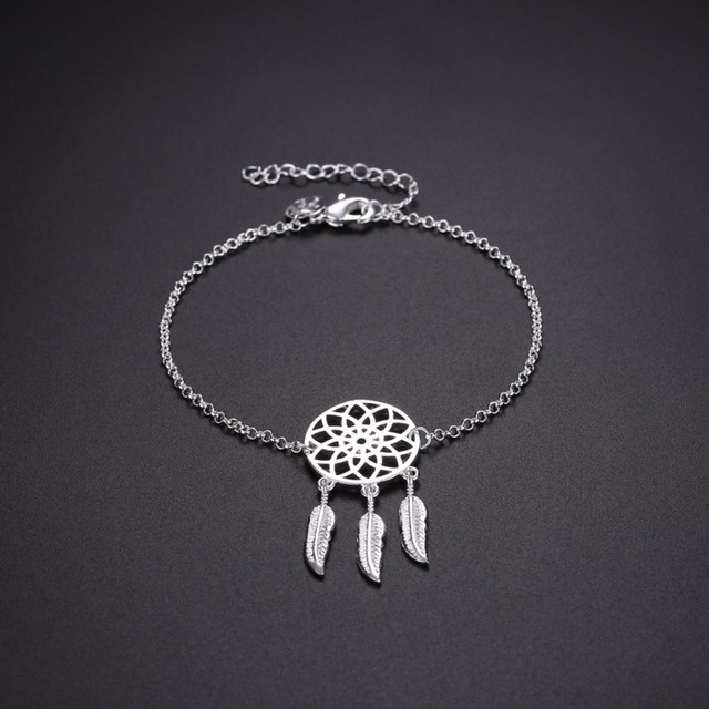 40 pure silver plated Dreamcatcher Charm Bracelet For Women Feather Custom Dream Catcher Charm Bracelet