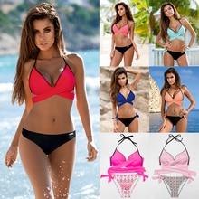 Купить с кэшбэком ESSV 2019 Sexy Bikini Women Swimsuit Push Up Swimwear Criss Cross Bandage Halter Bikini Set Beach Bathing Suit Swim Wear XXL