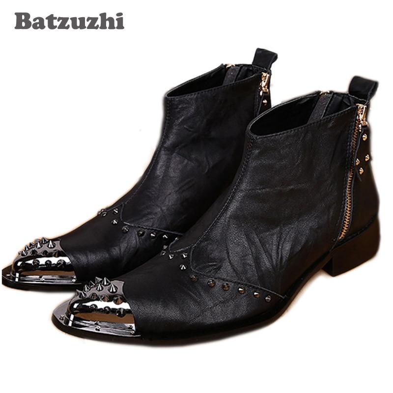где купить Batzuzhi Western Black Men Leather Boots Fashion Designer Metal Toe Rivets Short Ankle Boots for Men, Big Size EU38-46! по лучшей цене