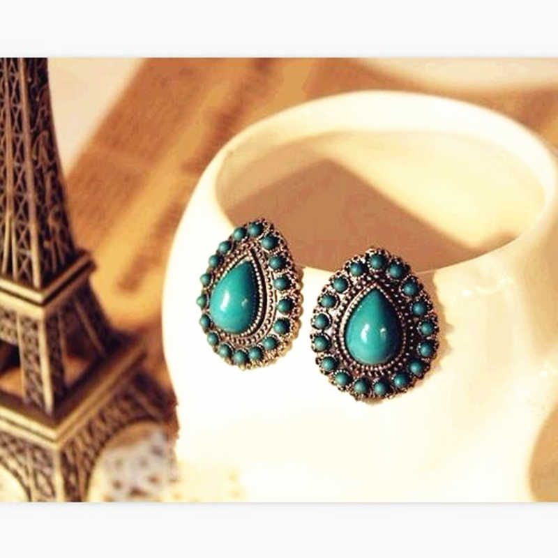 ES120 New style Classic Vintage Antique The Personalized Style Summer Water Droplets Earrings