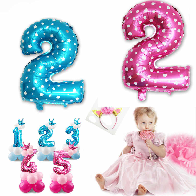 Blue Boy 2nd Birthday Decoration Pink Girl 2 Balloons Number Balloon Year Old Kids