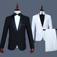 Men's Long sleeved Set Stage Black and White Mens 2 Piece Suit Single Breasted Straight White Black Suits Men