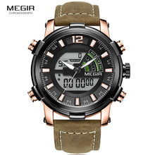 цена Megir Men's Sports Quartz Watches Back Light Multiple Time Zone Chronograph Wrist Watch Man LED Leather Strap Week 2089G Rose онлайн в 2017 году
