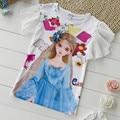 Crianças t-shirt dos miúdos roupas de verão T-shirt princesa dos desenhos animados impressão beleza camiseta crianças fibra de Leite T camisa Chiffon mangas