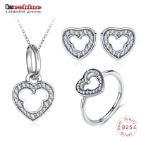 LZESHINE New 925 Sterling Silver Heart Jewelry Set 3pc Charm Wedding Jewelry Miki Mouse Stud Earrings/Pendant/Ring Set For Women