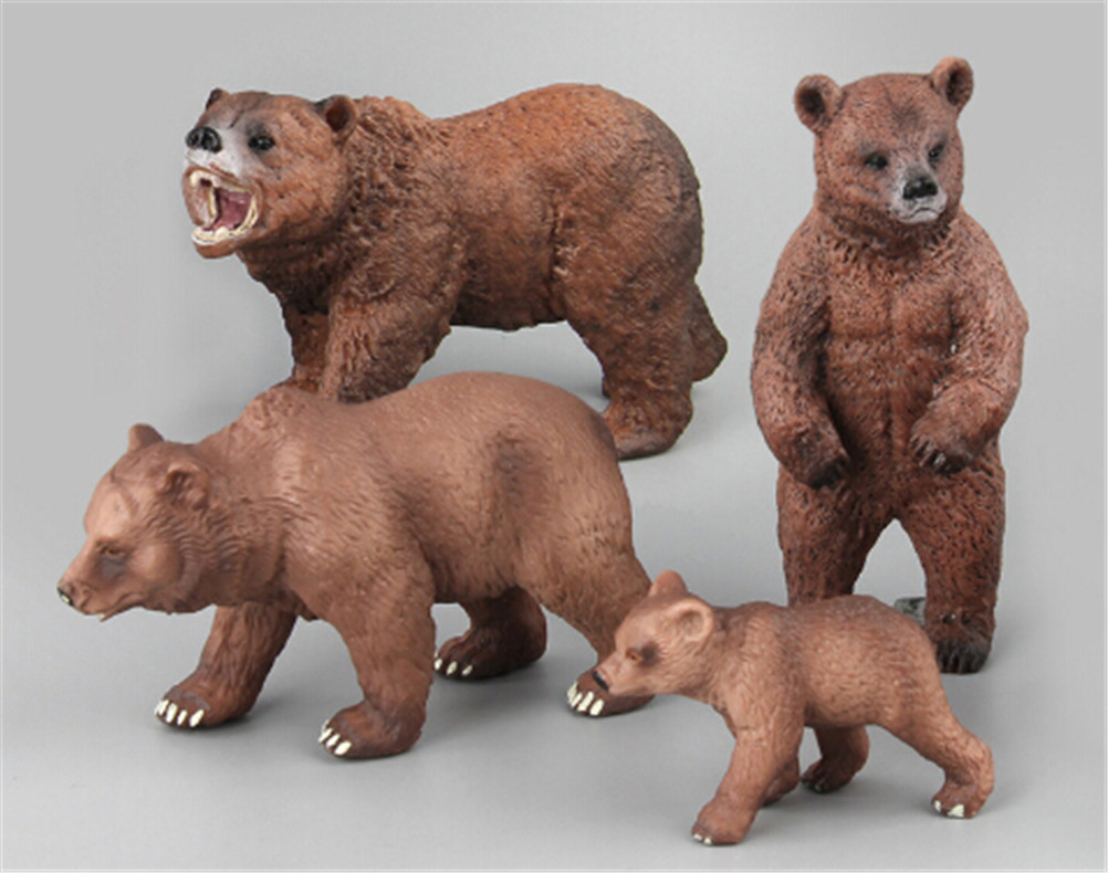 New Plastic Action Figures PVC Animals World Alaska Grizzly Brown Polar Bear Bears Static Model Educational Toys Gift for Kids