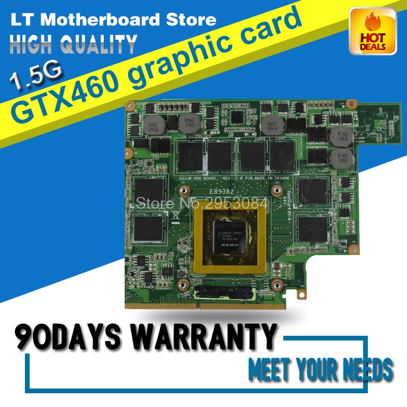 G73JW <font><b>Graphic</b></font> <font><b>card</b></font> For ASUS G53JW G73SW G53SW G53SX VX7 VX7S GTX460M <font><b>GTX</b></font> <font><b>460</b></font> N11E-GS-A1 1.5GB DDR5 MXMIII VGA Video <font><b>Card</b></font> image
